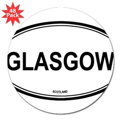 "Glasgow, Scotland euro Oval 3"" Lapel Sticker (48 pk)"