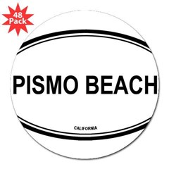 "Pismo Beach oval Oval 3"" Lapel Sticker (48 pk)"