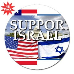 "I Support Israel Rectangle 3"" Lapel Sticker (48 pk)"