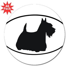 "Scottish Terrier Oval 3"" Lapel Sticker (48 pk)"