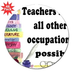 """Teacher Occupations"" Rectangle 3"" Lapel Sticker (48 pk)"