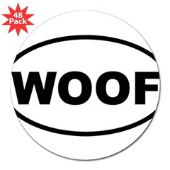 "Woof Oval 3"" Lapel Sticker (48 pk)"