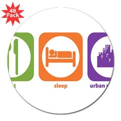 "Eat Sleep Urban Rectangle 3"" Lapel Sticker (48 pk)"