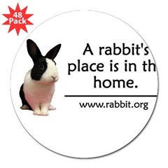 "A rabbits place is in the hom Oval 3"" Lapel Sticker (48 pk)"