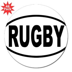 "RUGBY Oval 3"" Lapel Sticker (48 pk)"