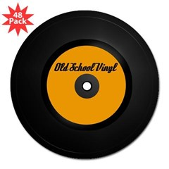 "Old School Vinyl Record Rectangle 3"" Lapel Sticker (48 pk)"