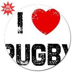 "I * Rugby Rectangle 3"" Lapel Sticker (48 pk)"