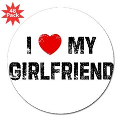 "I * My Girlfriend Rectangle 3"" Lapel Sticker (48 pk)"