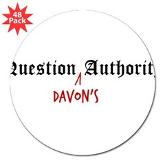 "Question Davon Authority 3"" Lapel Sticker (48 pk)"