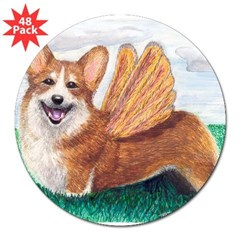 "Corgi Rectangle 3"" Lapel Sticker (48 pk)"