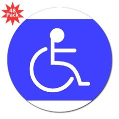 """Disabled"" Rectangle 3"" Lapel Sticker (48 pk)"