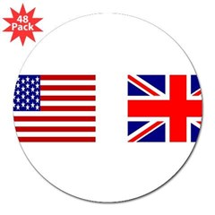 "USA & Union Jack Rectangle 3"" Lapel Sticker (48 pk)"
