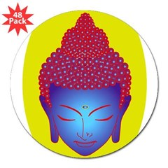 "purple buddha Oval 3"" Lapel Sticker (48 pk)"