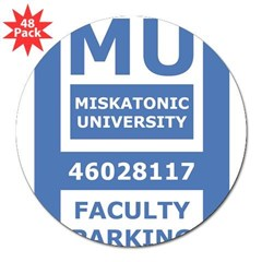 "Miskatonic University Parking Pass (Faculty) 3"" Lapel Sticker (48 pk)"