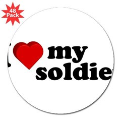 "I Love My Soldier Rectangle 3"" Lapel Sticker (48 pk)"