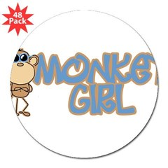"Monkey Girl Oval 3"" Lapel Sticker (48 pk)"