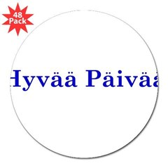 "Hyvää Päivää Rectangle 3"" Lapel Sticker (48 pk)"