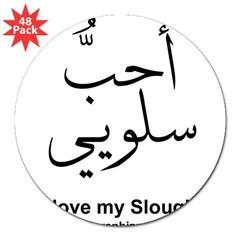 "Sloughi Dog Arabic Rectangle 3"" Lapel Sticker (48 pk)"