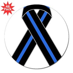 "Memorial Ribbon Rectangle 3"" Lapel Sticker (48 pk)"