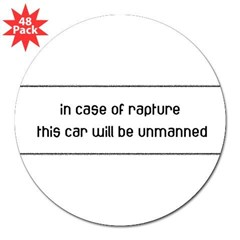 "In Case of Rapture 3"" Lapel Sticker (48 pk)"