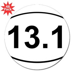 "Half Marathon 13.1 White Oval 3"" Lapel Sticker (48 pk)"