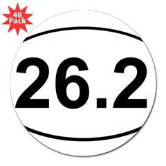 "Marathon 26.2 White Oval 3"" Lapel Sticker (48 pk)"
