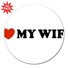 "I Love My Wife Oval 3"" Lapel Sticker (48 pk)"