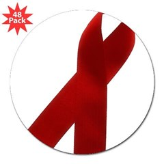 "AIDS AWARENESS RIBBON Rectangle 3"" Lapel Sticker (48 pk)"