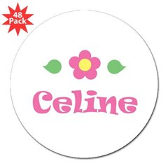 "Pink Daisy - ""Celine"" Rectangle 3"" Lapel Sticker (48 pk)"