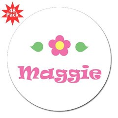 "Pink Daisy - ""Maggie"" Rectangle 3"" Lapel Sticker (48 pk)"