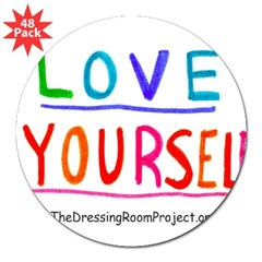 """Love Yourself"" Oval 3"" Lapel Sticker (48 pk)"
