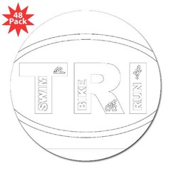 "Triathlon Oval 3"" Lapel Sticker (48 pk)"