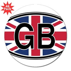 "Great Britain Euro Oval 3"" Lapel Sticker (48 pk)"