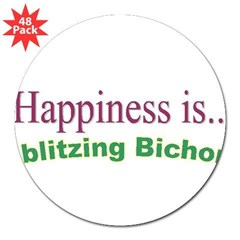 Blitzing Bichon Rectangle 3&quot; Lapel Sticker (48 pk)