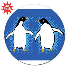 "Dancing Penguins Rectangle 3"" Lapel Sticker (48 pk)"