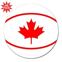 "Canada Oval 3"" Lapel Sticker (48 pk)"