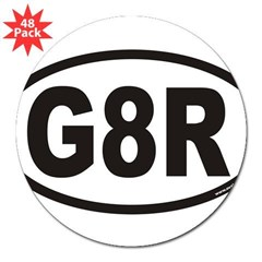 "G8R Euro Oval 3"" Lapel Sticker (48 pk)"