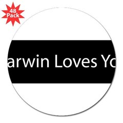 "Darwin Loves You 3"" Lapel Sticker (48 pk)"