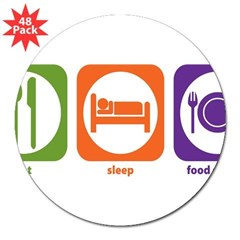 "Eat Sleep Food Service Rectangle 3"" Lapel Sticker (48 pk)"