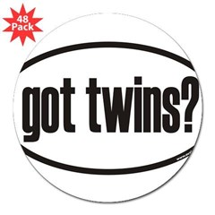 "got twins? Euro Oval 3"" Lapel Sticker (48 pk)"