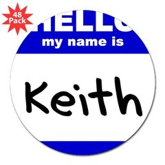"hello my name is keith Rectangle 3"" Lapel Sticker (48 pk)"