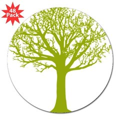 "TREE hugger (lime) Rectangle 3"" Lapel Sticker (48 pk)"
