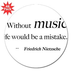 "Without music, life is a mist Sticker (Rectangular 3"" Lapel Sticker (48 pk)"