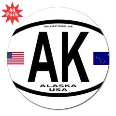 "Alaska Sticker Euro Style (Oval) 3"" Lapel Sticker (48 pk)"