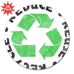 "Recycle! Rectangle 3"" Lapel Sticker (48 pk)"