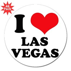 "I Heart Las Vegas Rectangle 3"" Lapel Sticker (48 pk)"