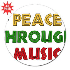 "Peace Through Music Rectangle 3"" Lapel Sticker (48 pk)"