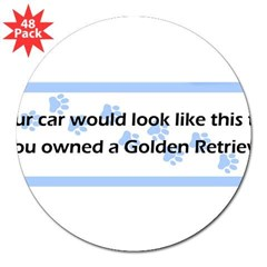 "Your Car Golden Retriever 3"" Lapel Sticker (48 pk)"