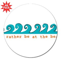 "I'd rather be at the beach Rectangle 3"" Lapel Sticker (48 pk)"