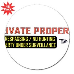 "3 x 10 No Trespassing Decal 3"" Lapel Sticker (48 pk)"